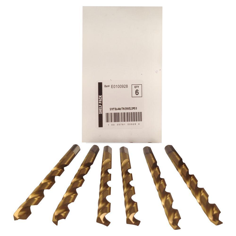 5/16 in. Diameter Titanium Jobber Drill Bit (6-Pack)