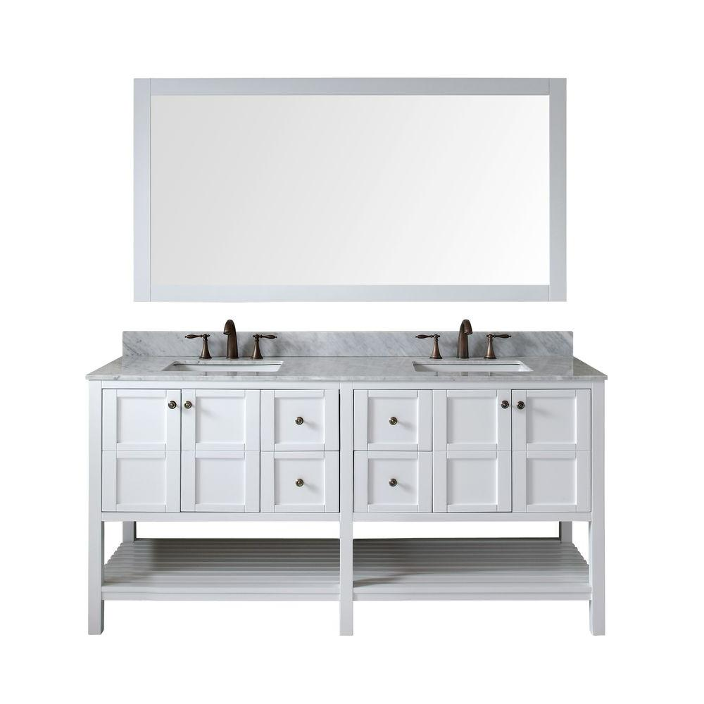 Virtu USA Winterfell 72 in. W Bath Vanity in White with Marble Vanity Top in White with Square Basin and Mirror