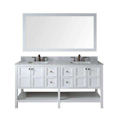 Winterfell 72 in. Double Vanity in White with Marble Vanity Top in Italian Carrara White with White Basin and Mirror