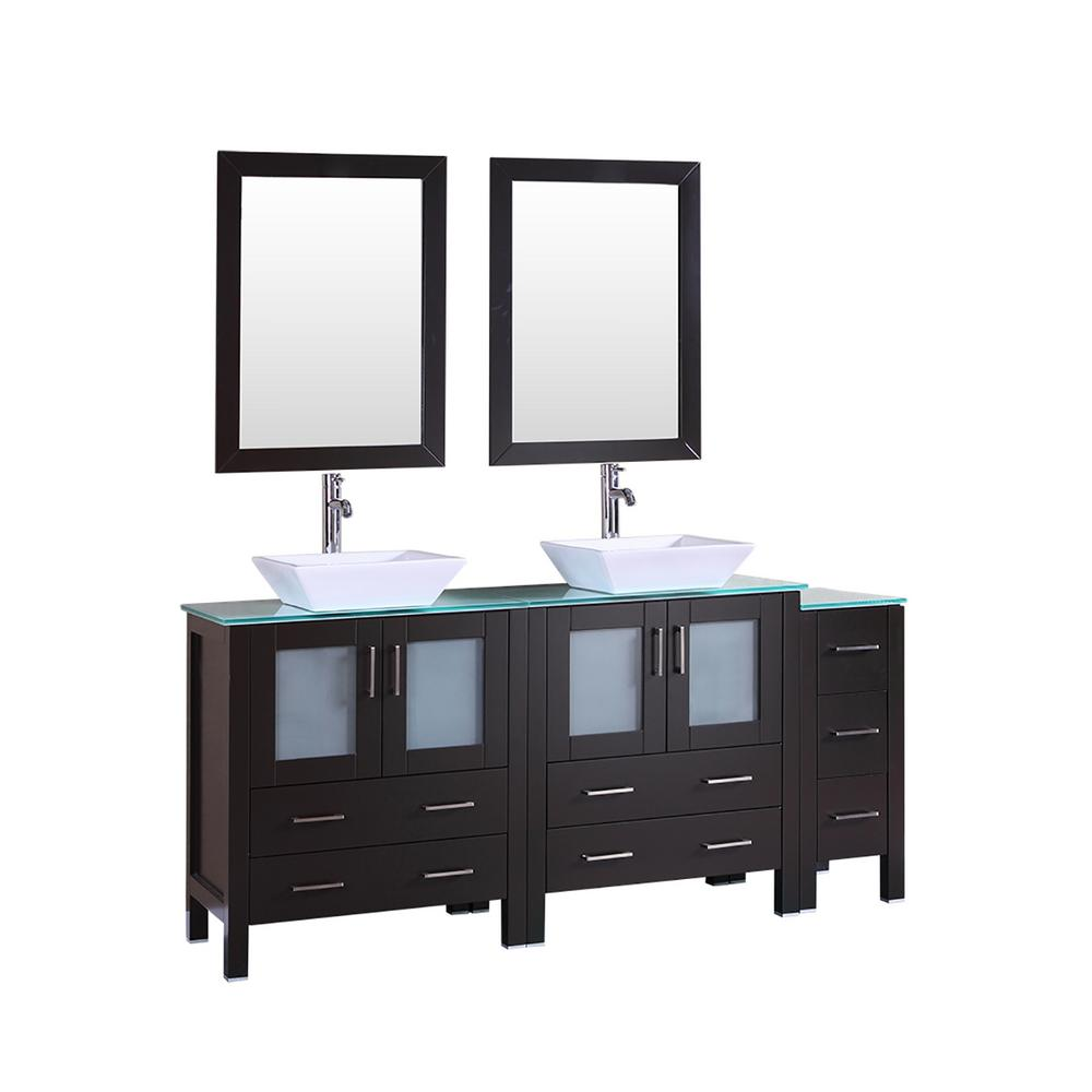 72 in. W Double Bath Vanity with Tempered Glass Vanity Top