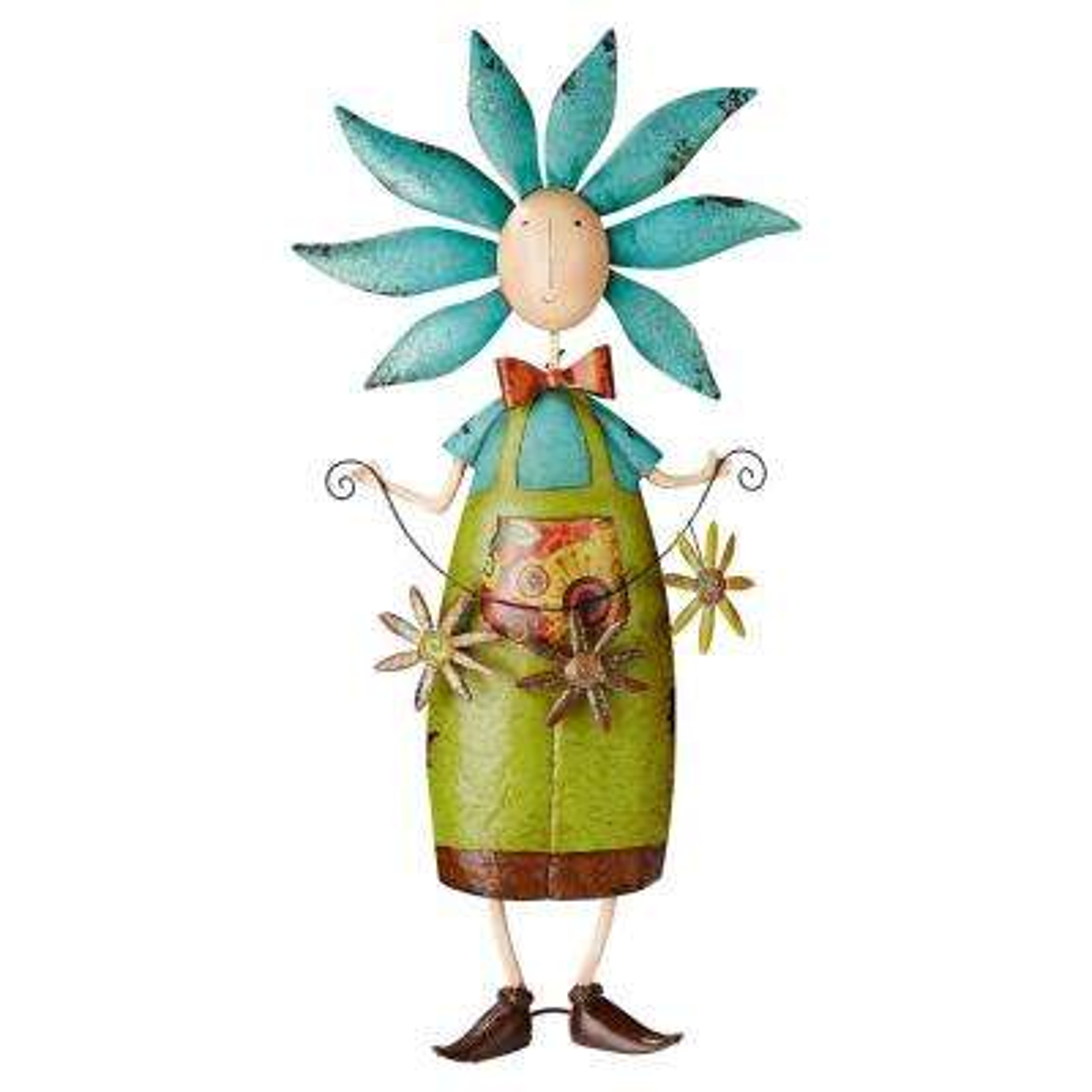 34.5 in. H Flower Children Boy Metal Garden Statue