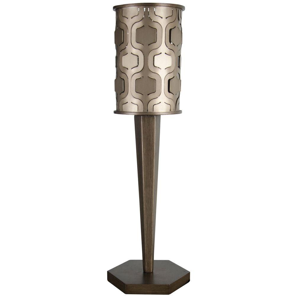 Varaluz Iconic 25 in. Mist Table Lamp Champagne with Recycled Steel Shade