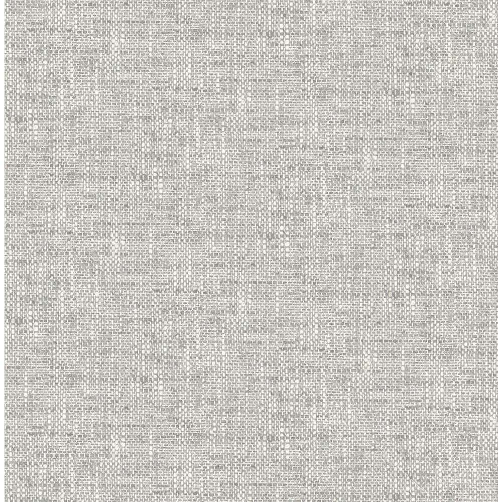 NuWallpaper Poplin Texture Grey Peel and Stick Wallpaper Sample