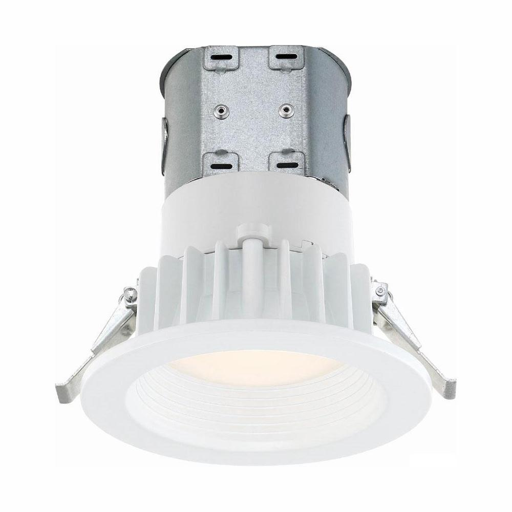 Commercial Electric Easy-Up 4 in. White Baffle Integrated LED Recessed Kit at 91 CRI, 5000K, Daylight