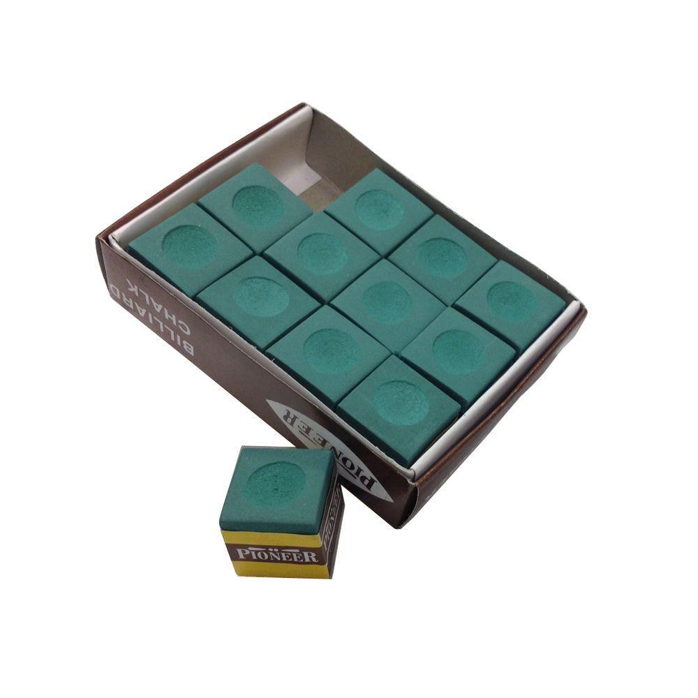 Green Billiard Pool Cue Chalk (12-Pack)