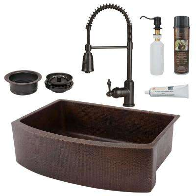 All-in-One Copper 30 in. Rounded Single Bowl Kitchen Farmhouse Apron Front  Sink with Spring Faucet in ORB