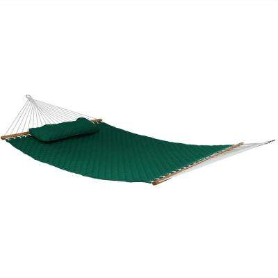 10-1/2 ft. Quilted Double 2-Person Hammock with Spreader Bars and Pillow in Green