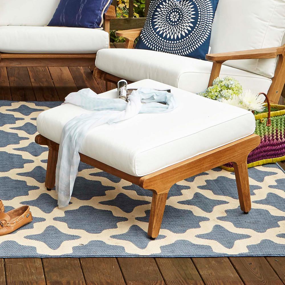 Saratoga Teak Outdoor Patio Ottoman in Natural with White Cushion