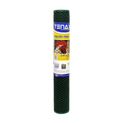 3 ft. x 25 ft. Green Poultry Hex Fence
