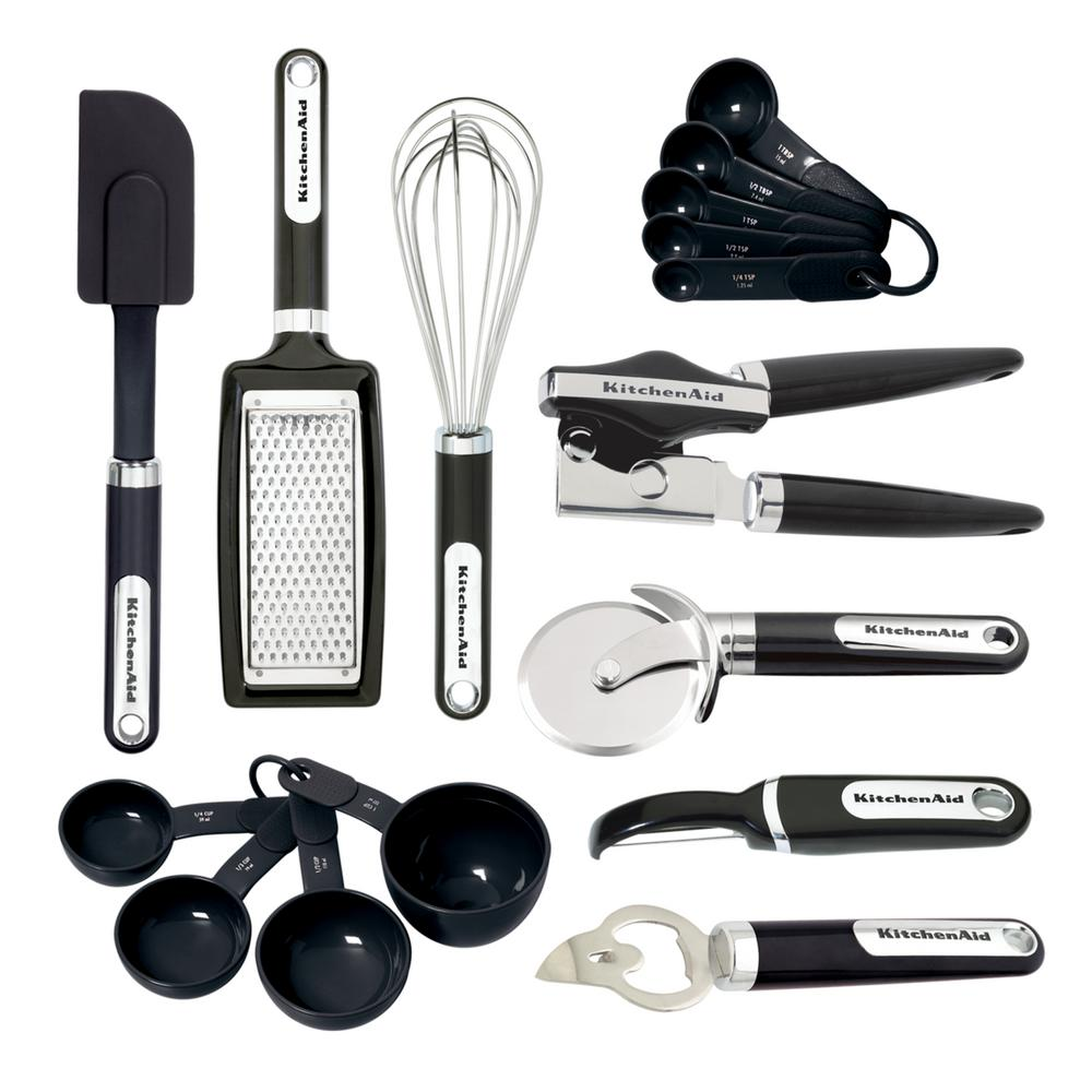 Kitchenaid 16 Piece Gadget Utensils Set In Black Kc459bxoba The