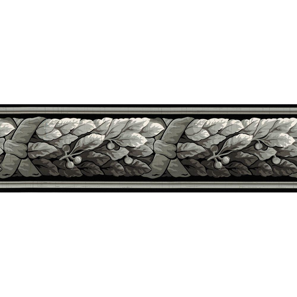 The Wallpaper Company 4.1 in. x 15 ft. Black and Grey Architectural Leaf Border