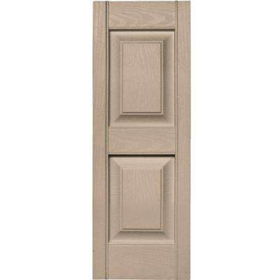 12 in. x 35 in. Raised Panel Vinyl Exterior Shutters Pair in #023 Wicker