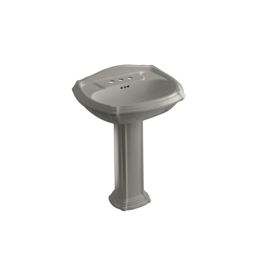 KOHLER Portrait Vitreous China Pedestal Combo Bathroom Sink in Cashmere with Overflow Drain