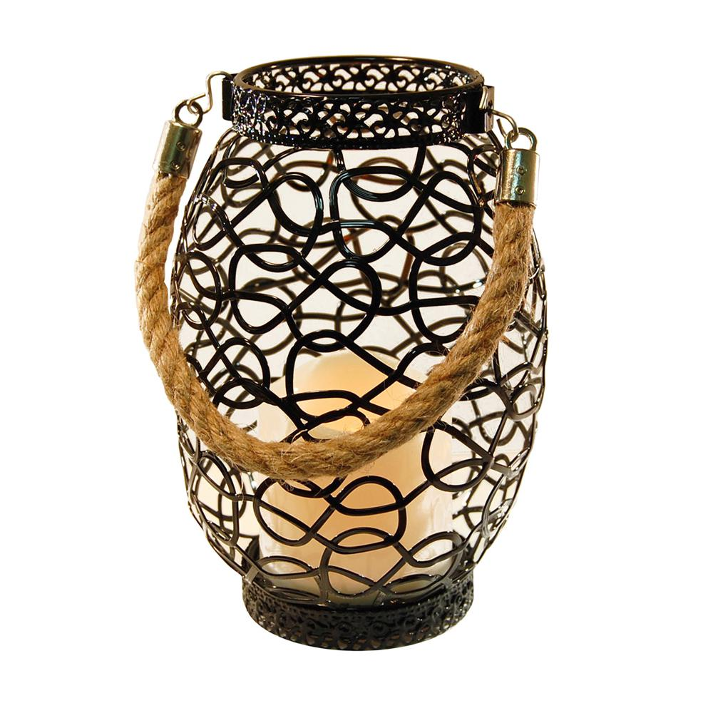 Lantern 6.25 in. x 9 in. Metal Lantern Swirl Design with