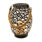 Lantern 6.25 in. x 9 in. Metal Lantern Swirl Design with LED Candle