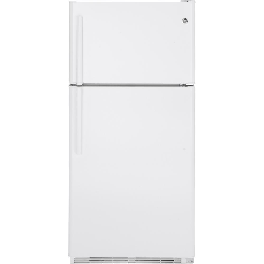 20.8 cu. ft. Top Freezer Refrigerator in White GE appliances provide up-to-date technology and exceptional quality to simplify the way you live. With a timeless appearance, this family of appliances is ideal for your family. And, coming from one of the most trusted names in America, you know that this entire selection of appliances is as advanced as it is practical. Color: White.