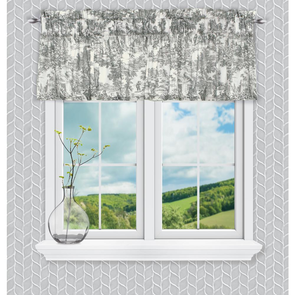 Ellis Curtain Victoria Park Toile 12 in. L Cotton Tailored Valance in Grey
