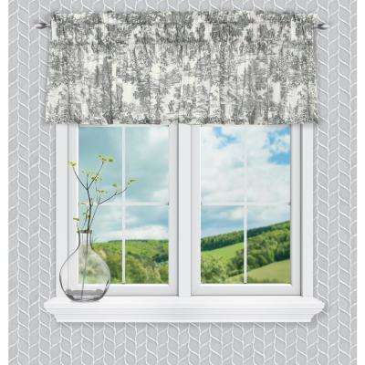 Victoria Park Toile 12 in. L Cotton Tailored Valance in Grey