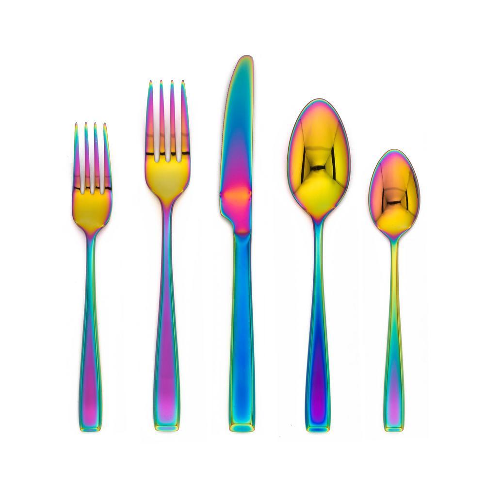 Logan Rainbow Mirror 20-Piece Flatware Set