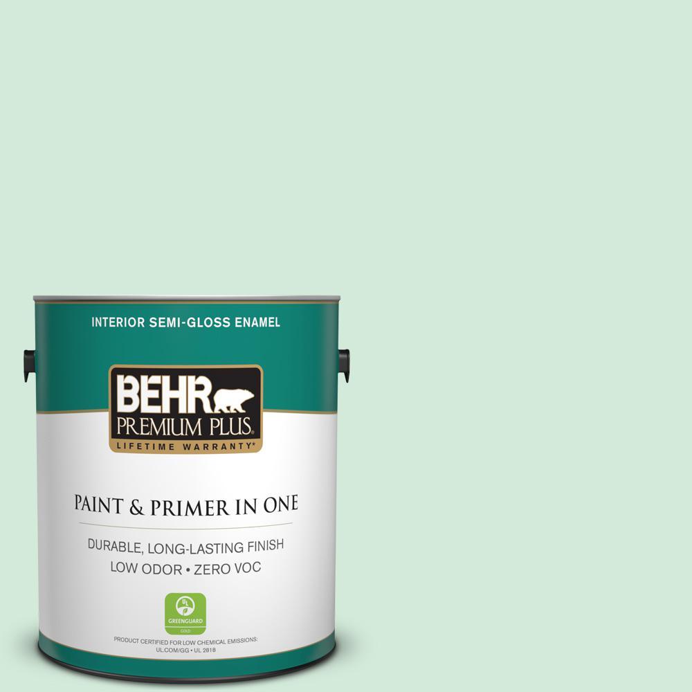 1-gal. #M410-1 Jade Mist Semi-Gloss Enamel Interior Paint