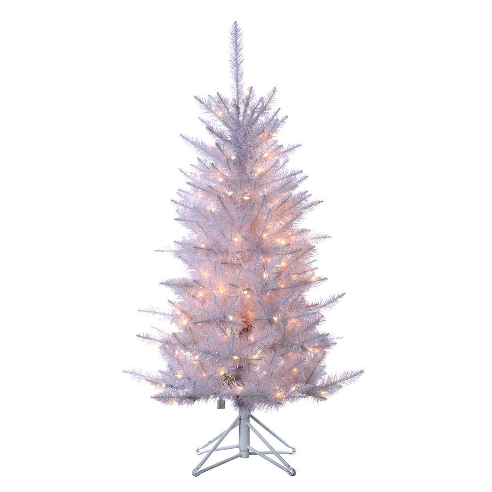 White 4 Foot Christmas Tree: Sterling 4 Ft. Pre-Lit Tiffany White Tinsel Artificial
