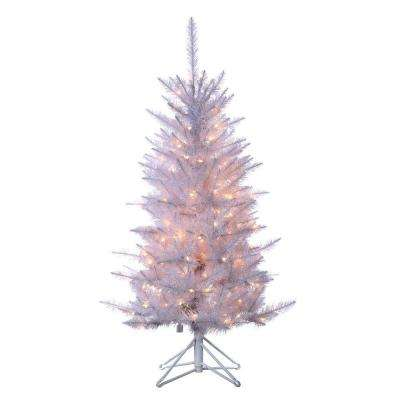 4 ft. Pre-Lit Tiffany White Tinsel Artificial Christmas Tree with Clear Lights