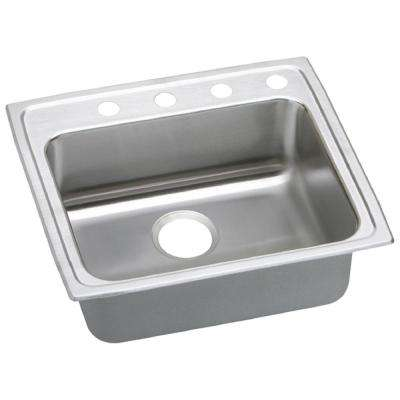 Lustertone Drop-In Stainless Steel 22 in. 4-Hole Single Bowl Kitchen Sink