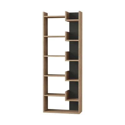 64.17 in. Oak/Anthracite Wood 11-shelf Etagere Bookcase with Open Back