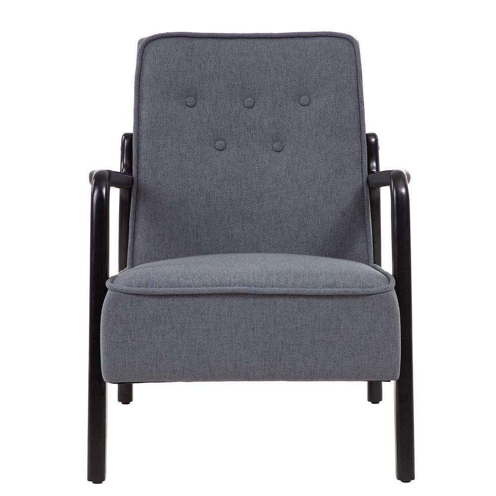 Dark Gray Mid-Centruty Modern Upholstered Accent Armchair