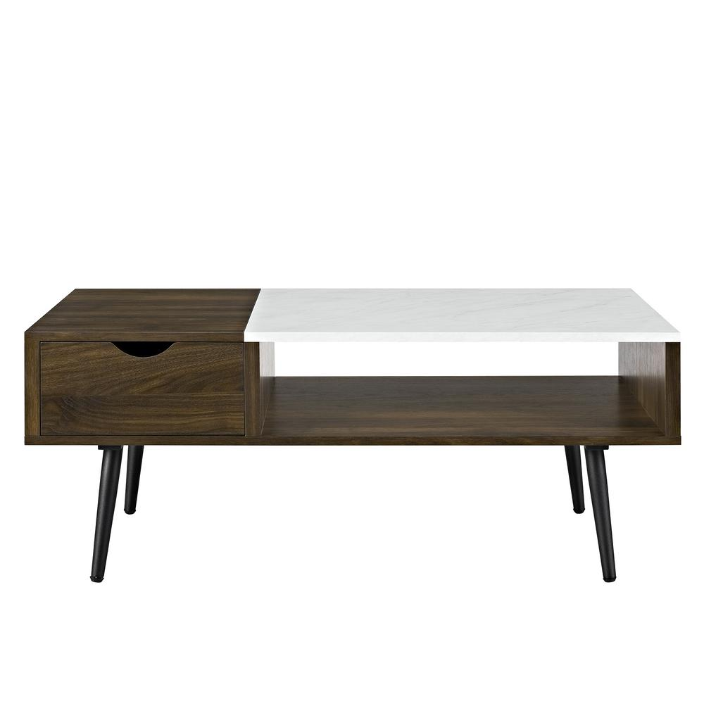 Walker Edison Furniture Company Dark Walnut Wood And Faux Marble - Walnut and marble coffee table