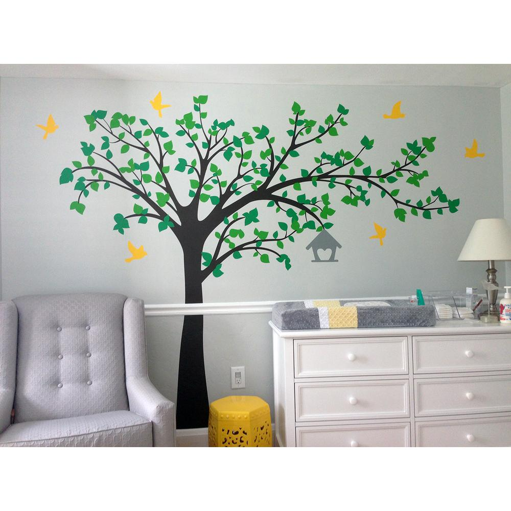 Pop Decors 100 In X 79 In Big Tree With Love Birds Tree Removable