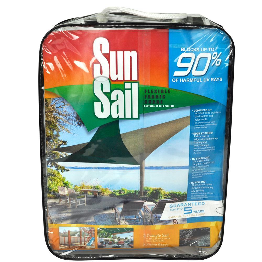 11.8 ft. Triangle Sun Sail Garden Sun Shade Sail Canopy Fabric in Green, Heavy Duty