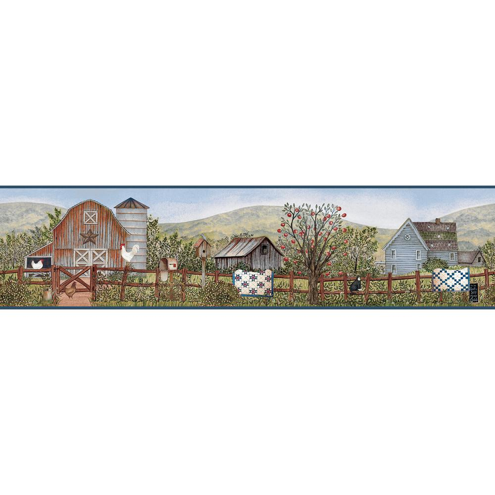 Clarksville Blue Farm Blue Wallpaper Border