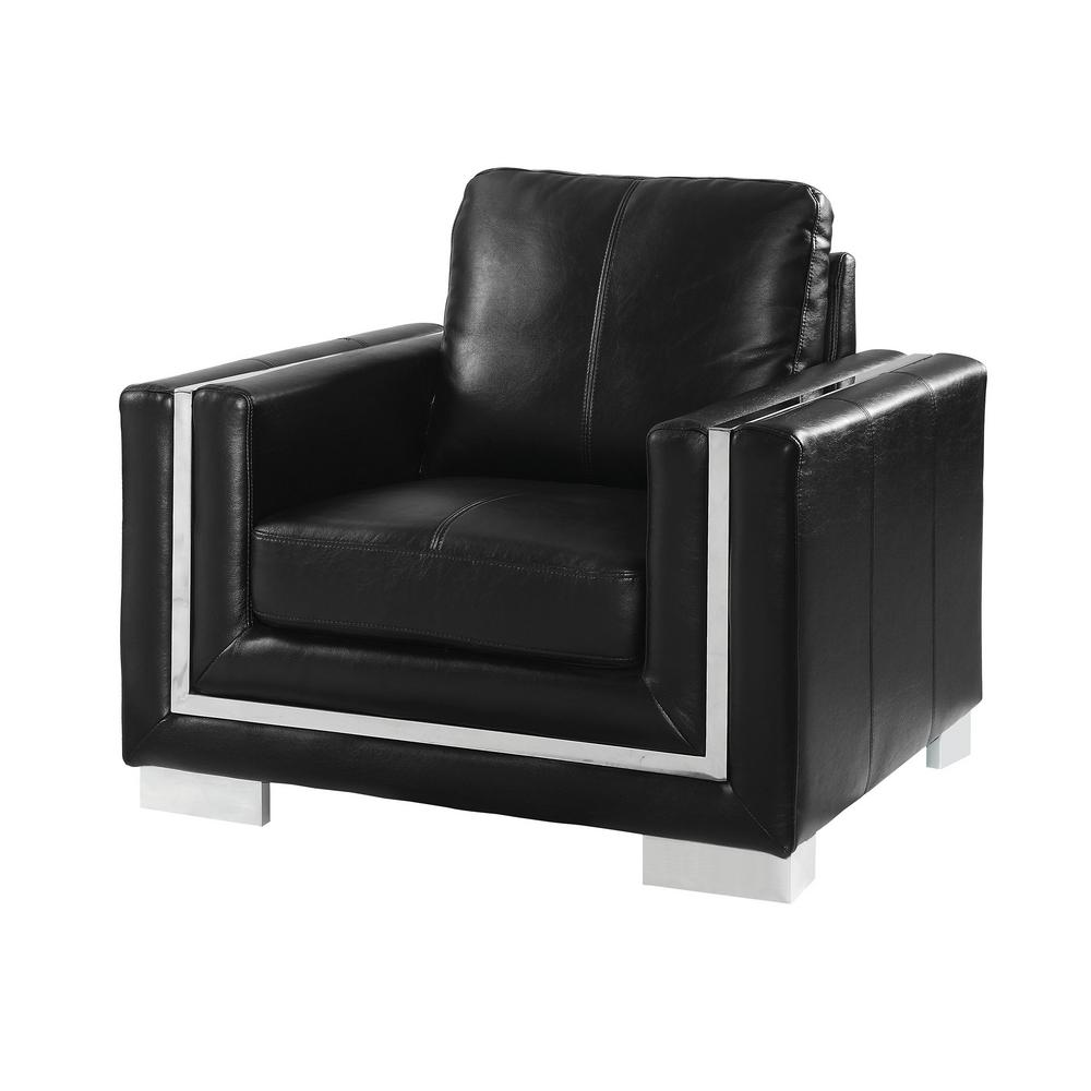Williams Home Furnishing Perla Black And Chrome Contemporary Style
