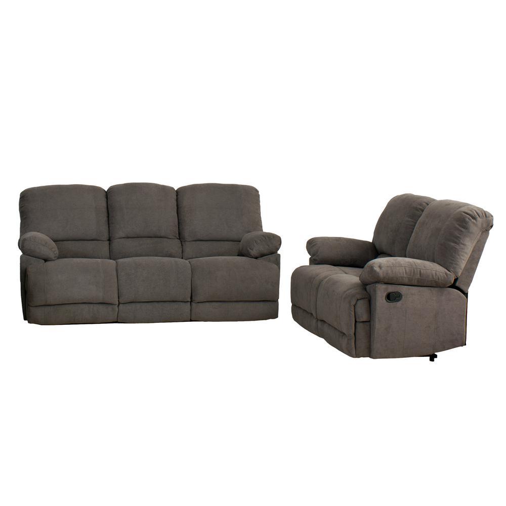Lea 2-Piece Grey Chenille Fabric Reclining Sofa Set