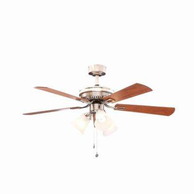 Sinclair 44 in. Indoor Brushed Nickel Ceiling Fan with Light Kit