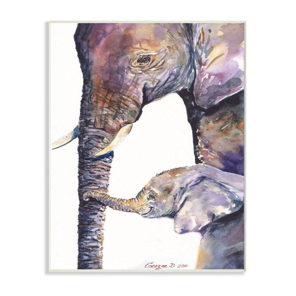 Stupell Industries 12 In X 18 In Colorful Cute Baby Elephant Family Purple By George Dyachenko Wood Wall Art Aap 325 Wd 12x18 The Home Depot