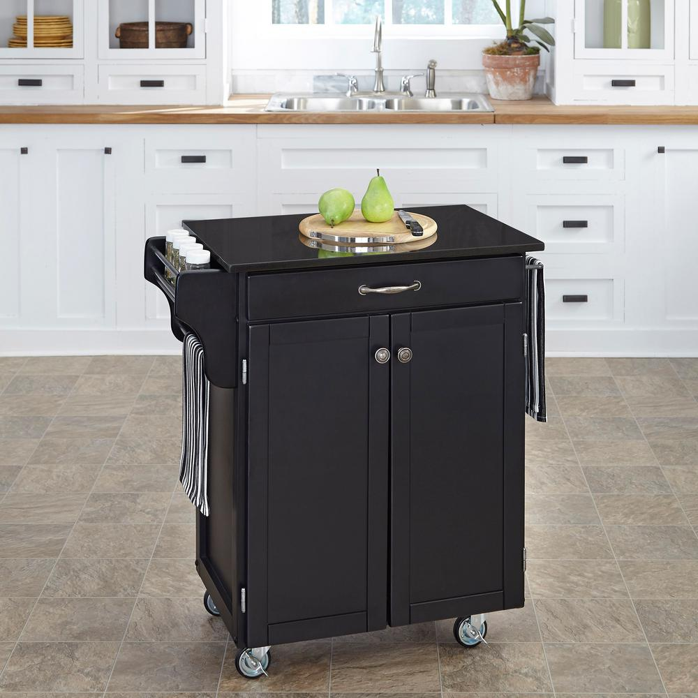 Home Styles Create-a-Cart Black Kitchen Cart With Black G...