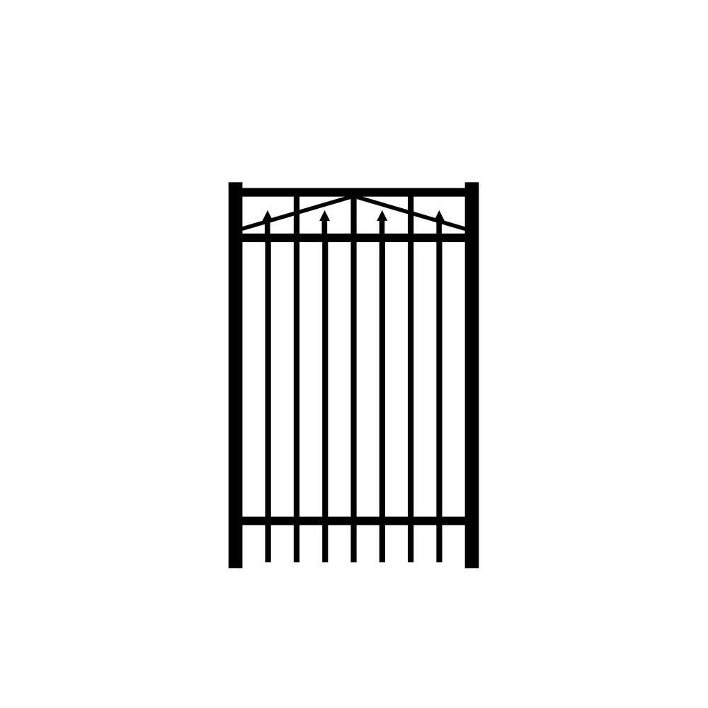 Adams 3 ft. W x 4 ft. H Black Aluminum 3-Rail Fence Gate
