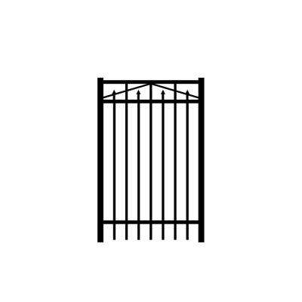 Adams 3 ft. W x 5 ft. H Black Aluminum 3-Rail Fence Gate