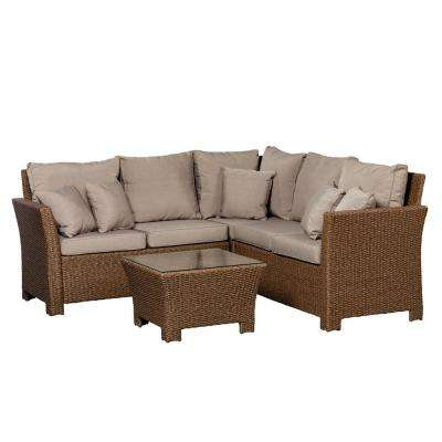 Jarrett Mocha 3-Piece Wicker Outdoor Sectional Set with Taupe Cushions