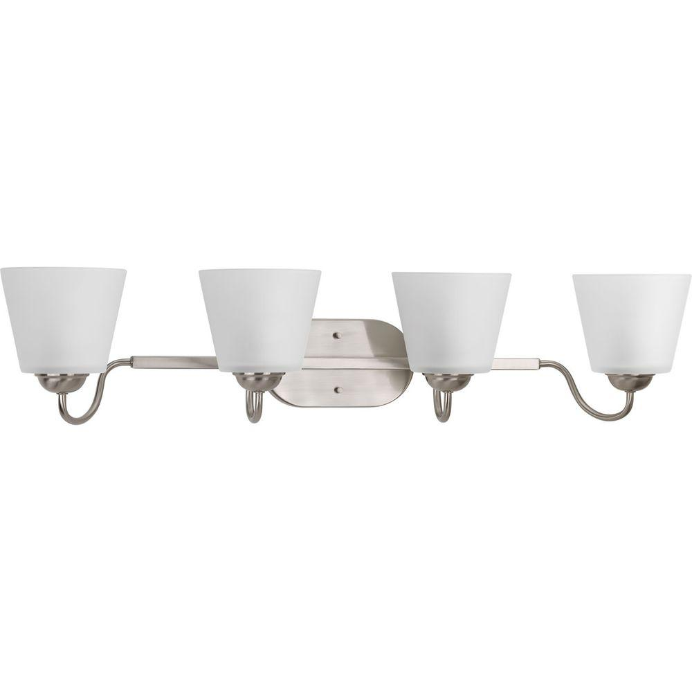 Arden Collection 4-Light Brushed Nickel Vanity Light with Etched Glass Shades