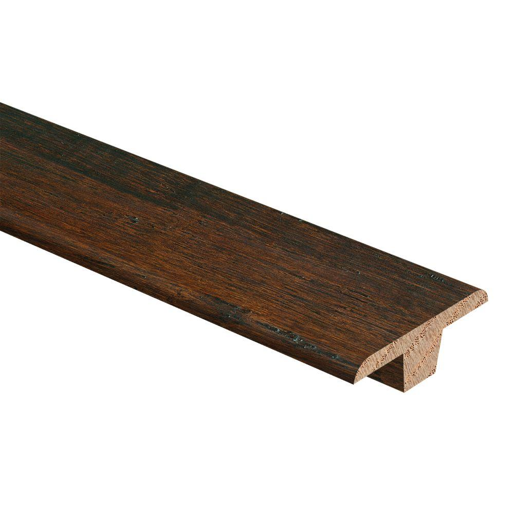 Zamma Hand Scraped Strand Woven Bamboo Dark Mahogany 3/8 in. Thick x 1-3/4 in. Wide x 94 in. Length Hardwood T-Molding, HS Strand Woven Bamboo Dark -  014002022589