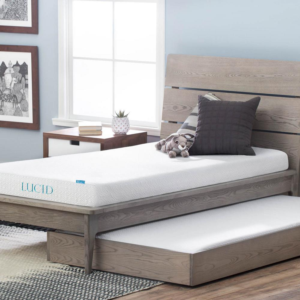 lucid 5 in. queen dual layer gel memory foam mattress-hdlu05qq45gf