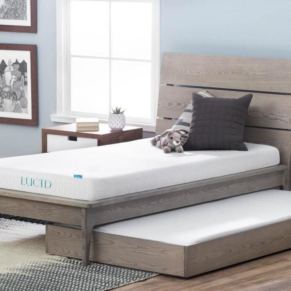 LUCID 5 in. Twin XL Dual Layer Gel Memory Foam Mattress