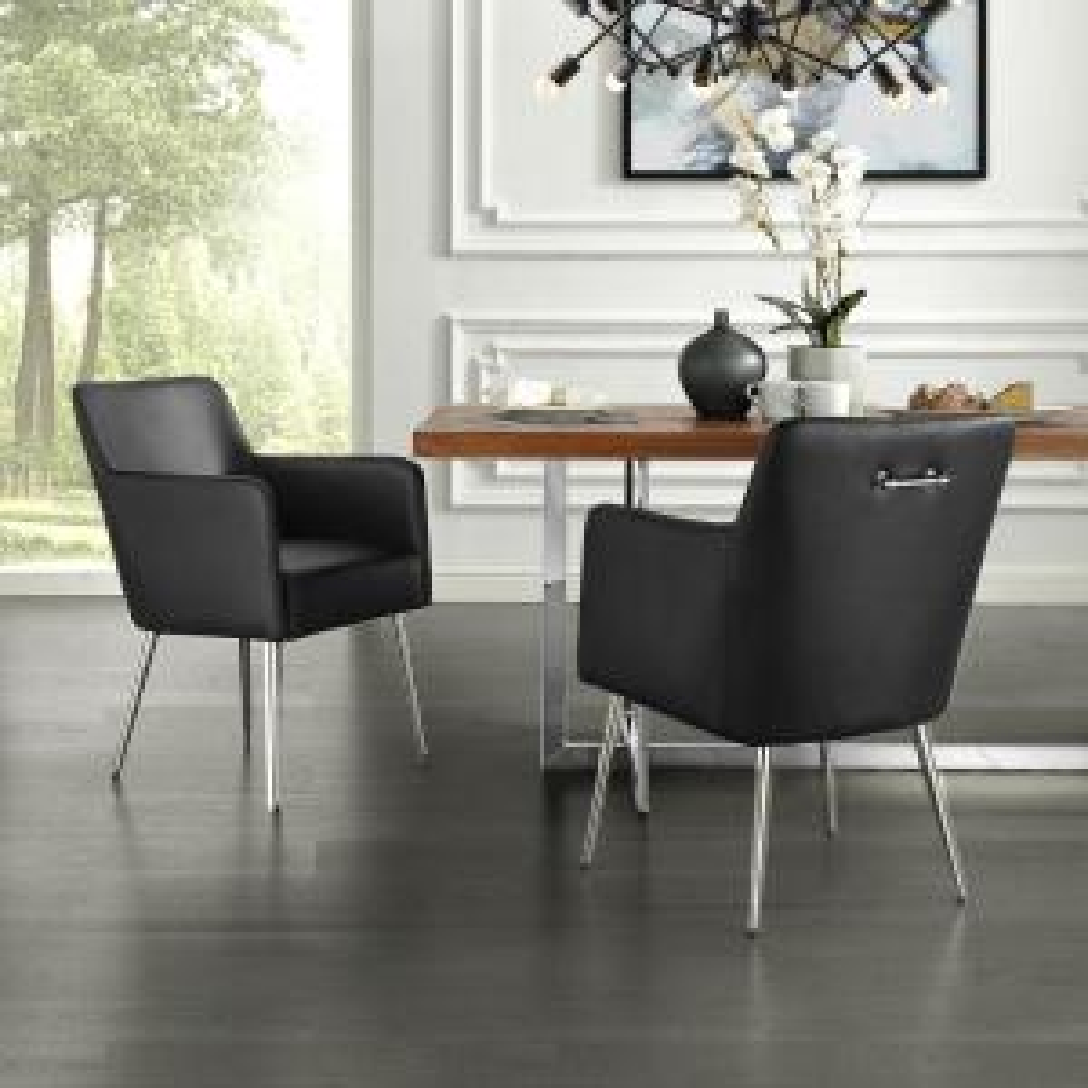 Fabulous Inspired Home Capelli Black Chrome Pu Leather Metal Leg Beatyapartments Chair Design Images Beatyapartmentscom