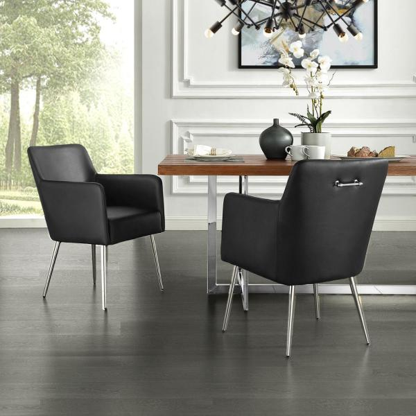 Inspired Home Capelli Black/Chrome PU Leather Metal Leg Dining Chair (Set