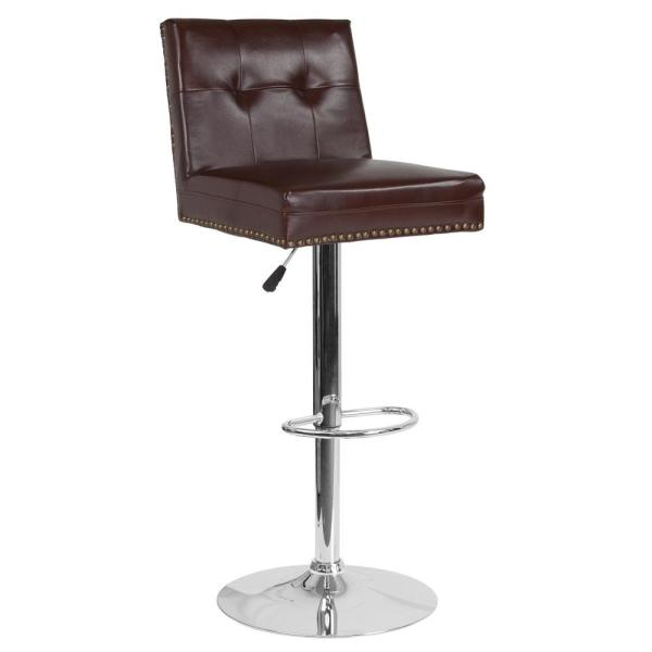 Carnegy Avenue Adjustable Height Brown Leather Bar Stool CGA-DS-231722-BR-HD