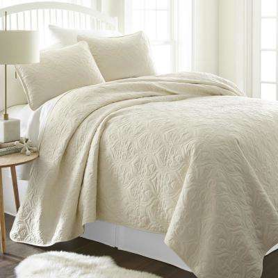 Damask Ivory Queen Performance Quilted Coverlet Set