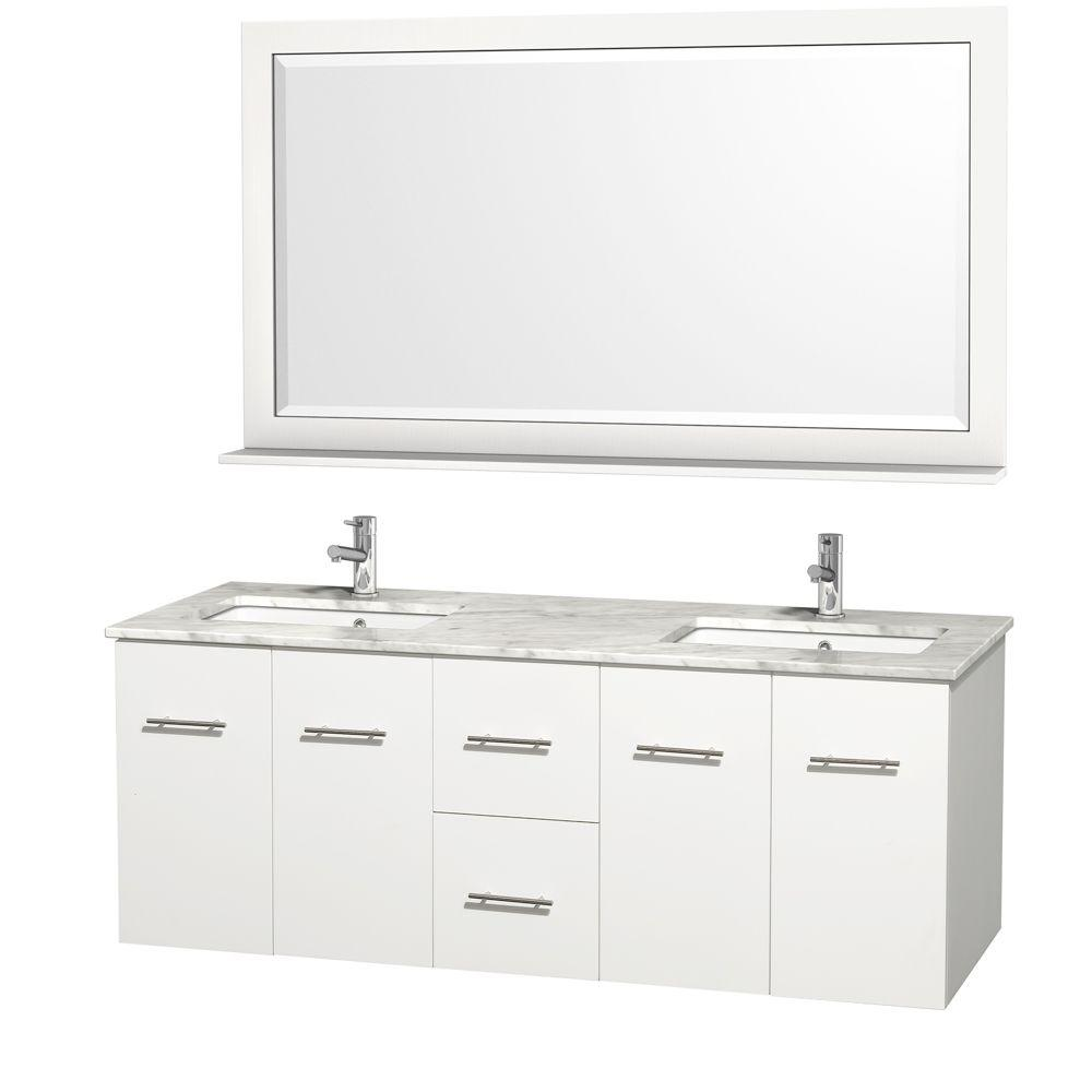 Wyndham Collection Centra 60 in. Double Vanity in White with Marble Vanity Top in Carrara White and Under-Mount Sink
